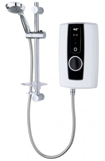 electric shower touch white black lead